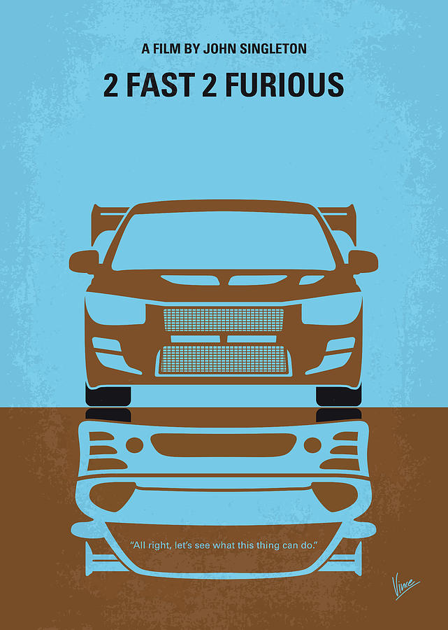 2 Digital Art - No207-2 My 2 Fast 2 Furious Minimal Movie Poster by Chungkong Art