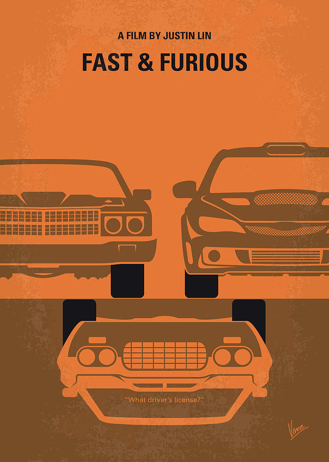 Fast Digital Art - No207-4 My Fast And Furious Minimal Movie Poster by Chungkong Art