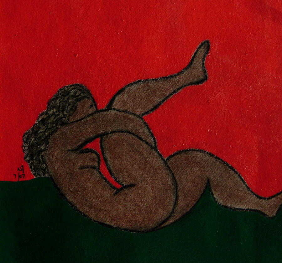 Female Nude Drawing - No.327 by Vijayan Kannampilly