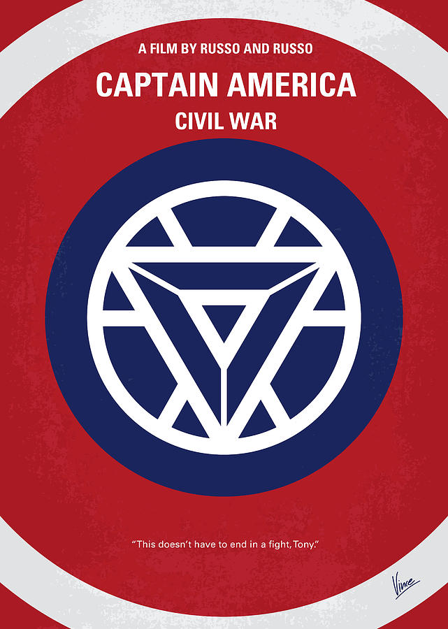 Captain Digital Art - No329 My Captain America - 3 Minimal Movie Poster by Chungkong Art
