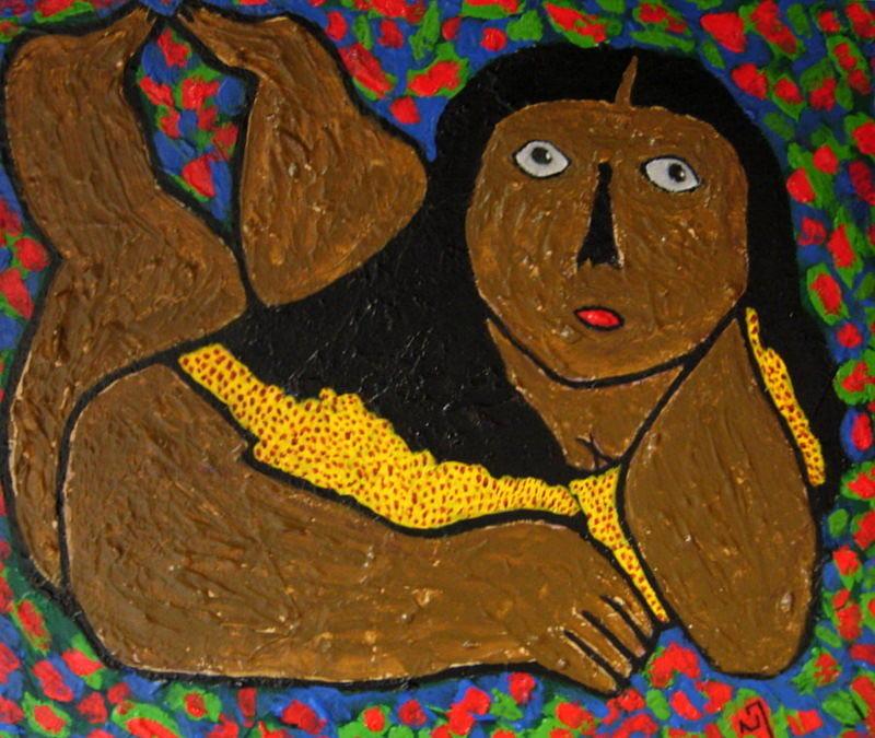 Reclining Woman Painting - No.351 by Vijayan Kannampilly