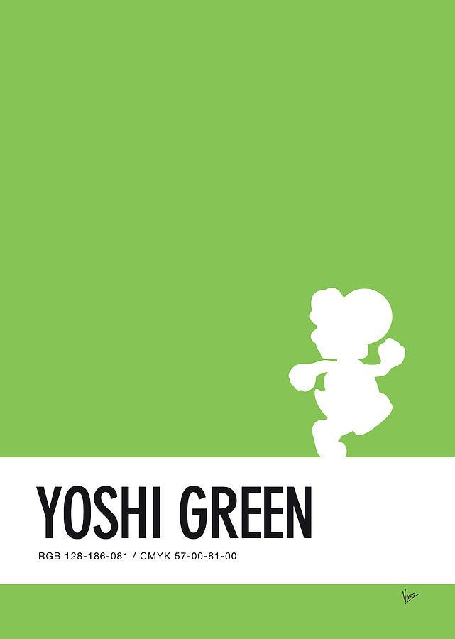 Mario Digital Art - No36 My Minimal Color Code Poster Yoshi by Chungkong Art