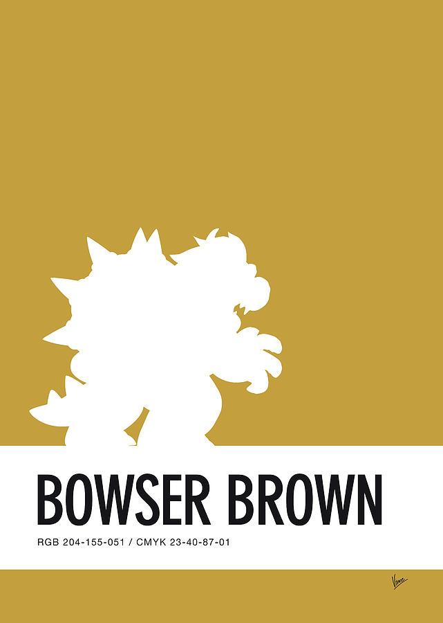 Mario Digital Art - No38 My Minimal Color Code Poster Bowser by Chungkong Art