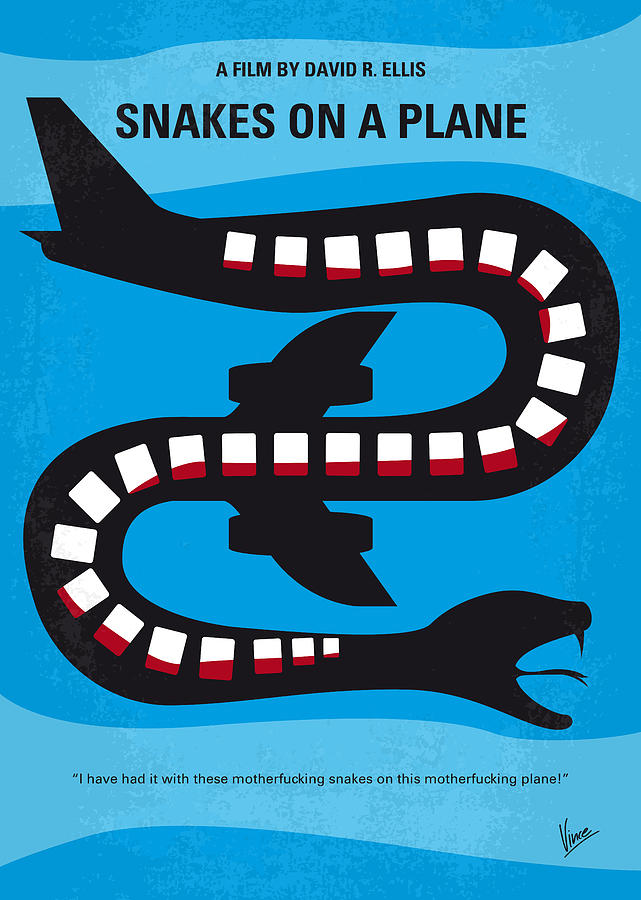 Snakes Digital Art - No501 My Snakes On A Plane Minimal Movie Poster by Chungkong Art