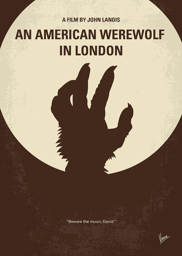American Digital Art - No593 My American werewolf in London minimal movie poster by Chungkong Art