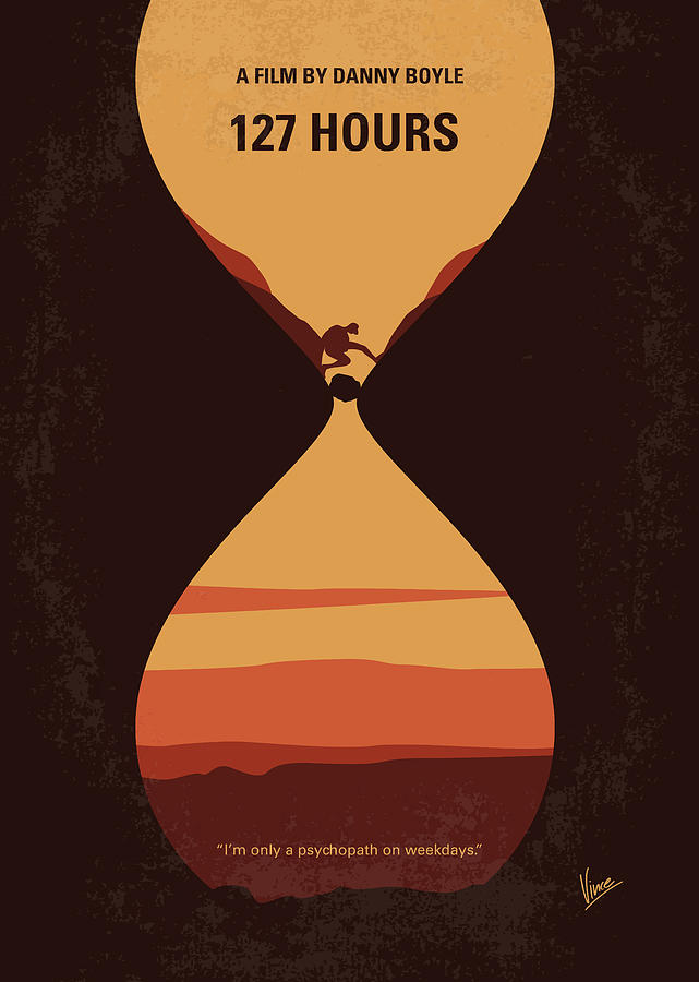 no719 my 127 hours minimal movie poster digital art by