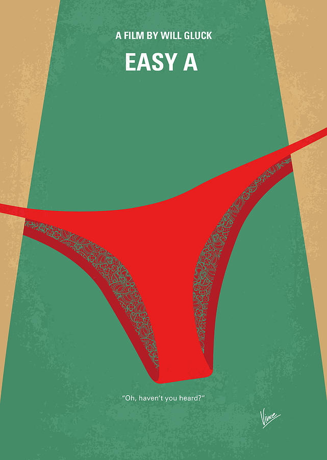 Easy Digital Art - No884 My Easy A Minimal Movie Poster by Chungkong Art