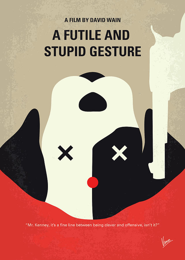 Futile Digital Art - No893 My A Futile And Stupid Gesture Minimal Movie Poster by Chungkong Art
