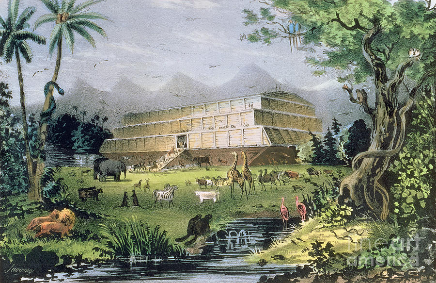 Noah's Ark Painting - Noahs Ark by Currier and Ives