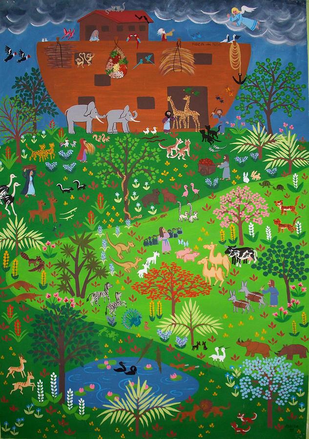 Noah\\\'s Ark Painting - Noahs Ark by Isolda Nouel