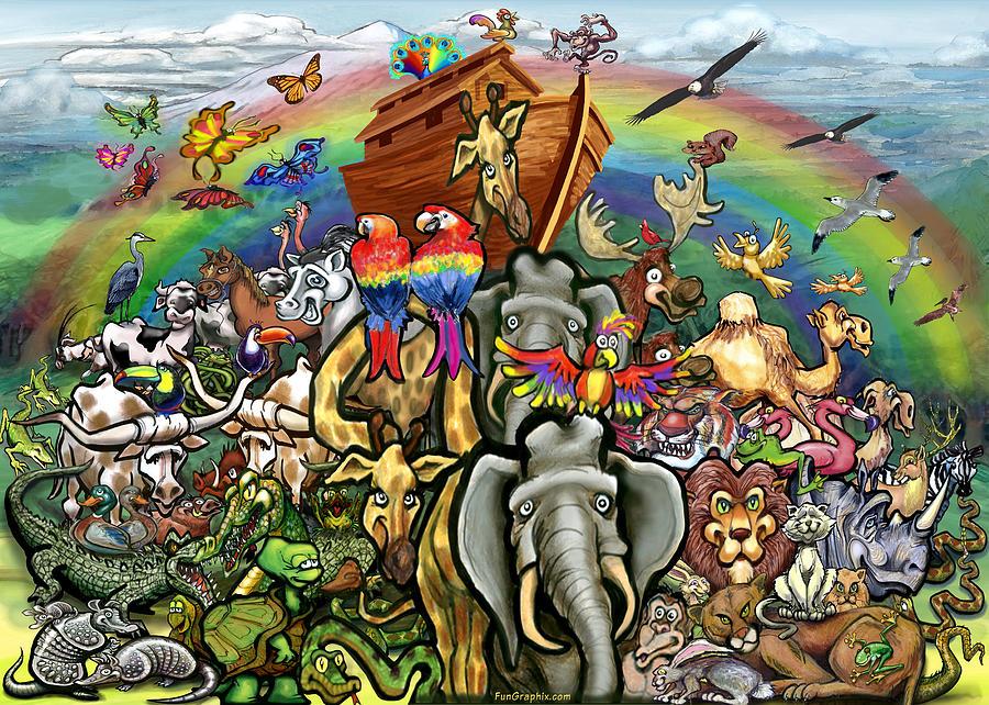 Noah's Ark Painting - Noahs Ark by Kevin Middleton