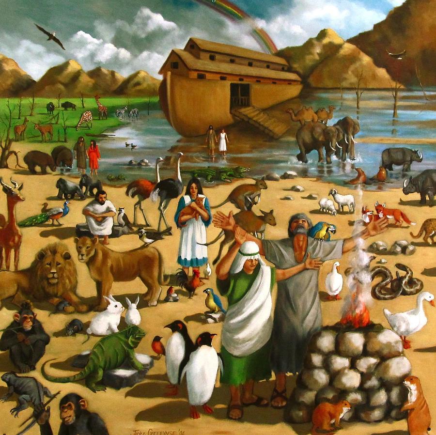 Noah 39 s ark mural painting by joyce geleynse for Mural painting images