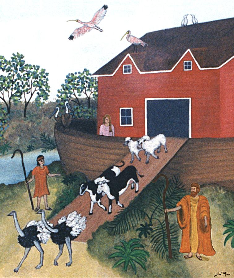 Noah's Ark Painting - Noahs Ark Two by Linda Mears