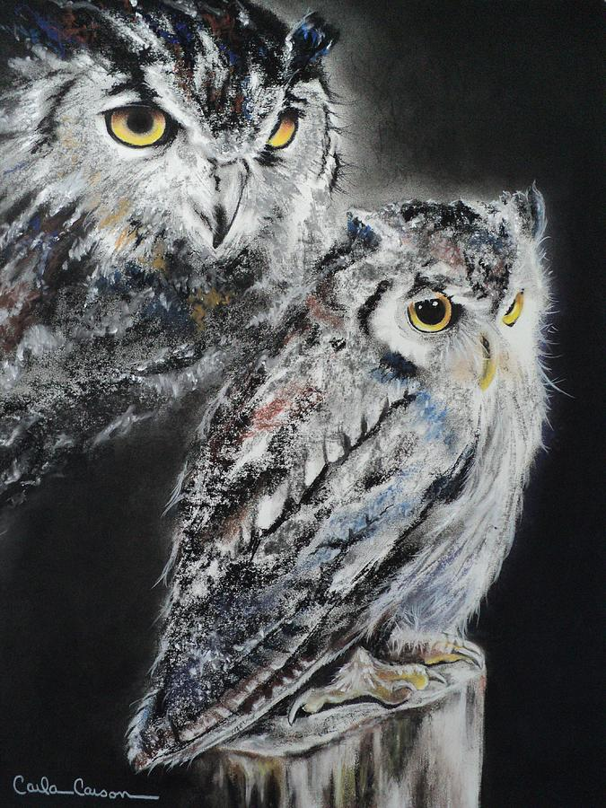 Owl Pastel - Noble Owl Guardian Of The Afterlife by Carla Carson