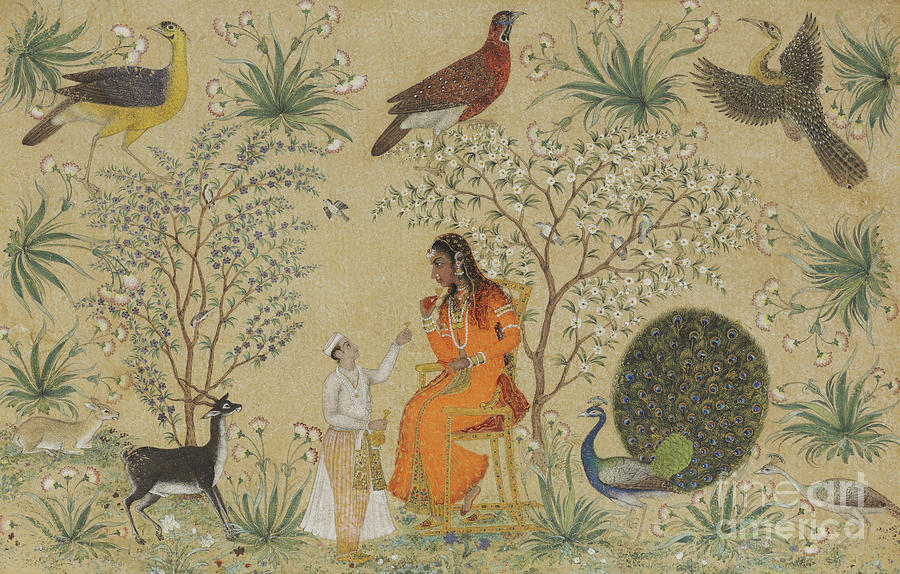 Indian Painting - Noble Woman In A Garden by Mughal School
