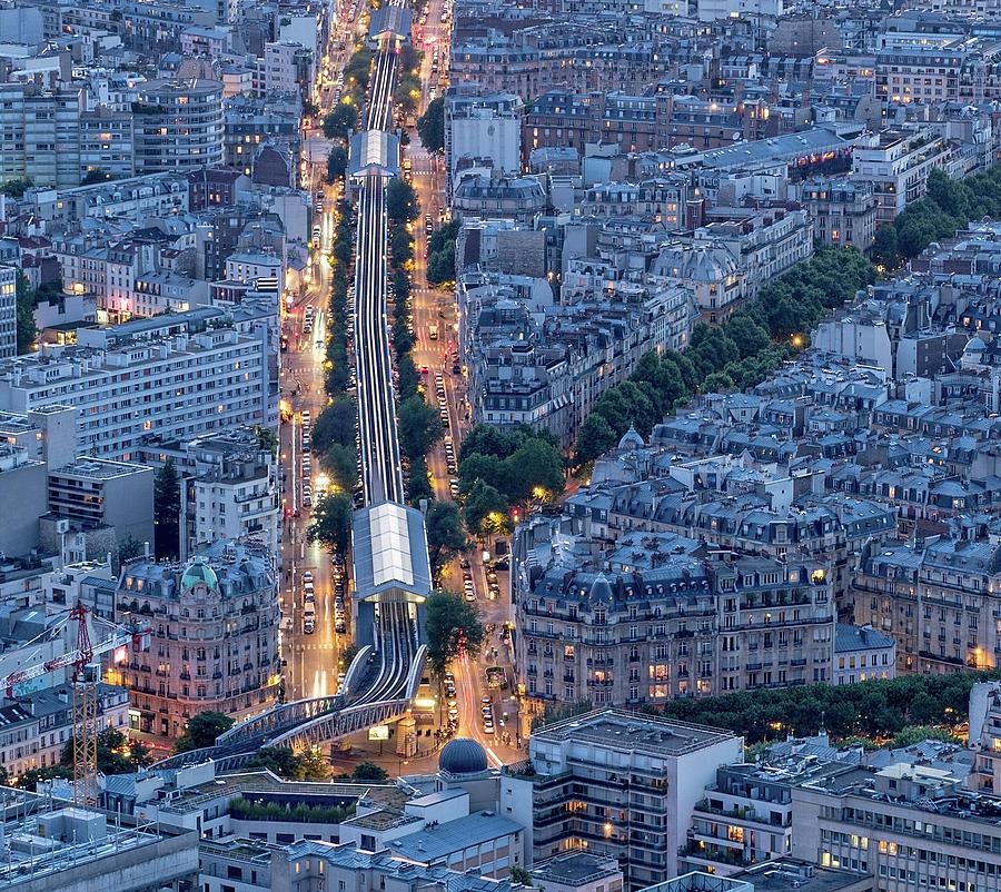 Nocturnal Aerial of Gare Montparnasse  by Gary Karlsen