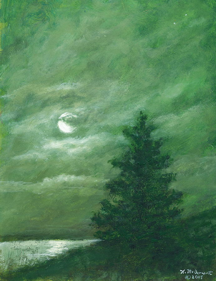 Pine Painting - Nocturne In Green by Kathleen McDermott