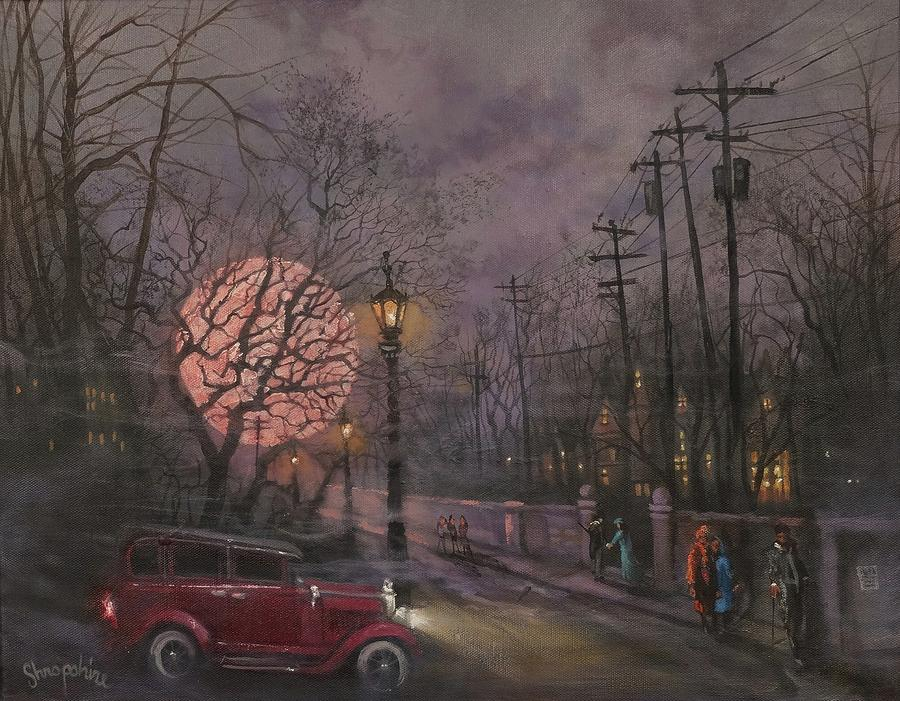 Full Moon Painting - Nocturne In Lavender by Tom Shropshire