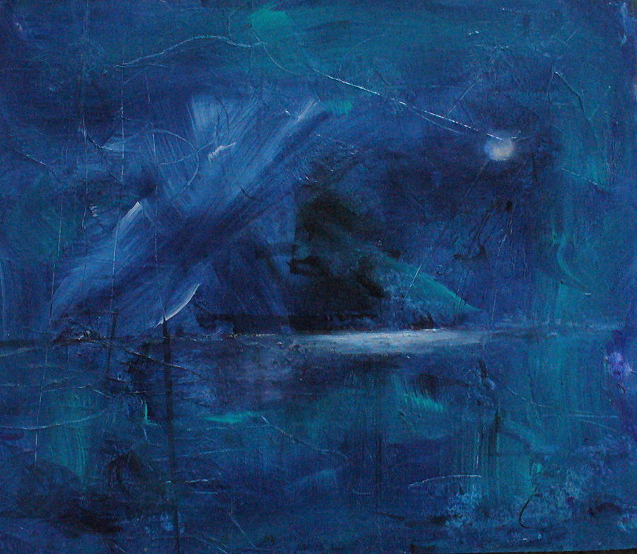 Abstract Seascape Painting - Nocturne by Mary Sullivan