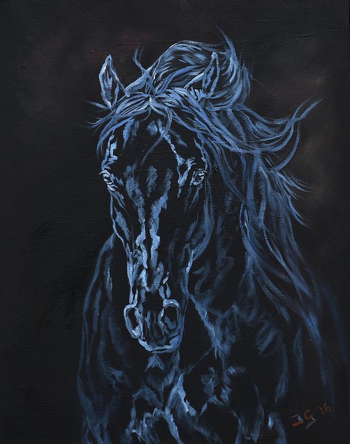 Dark Horse Painting - Nocturno by Jana Goode