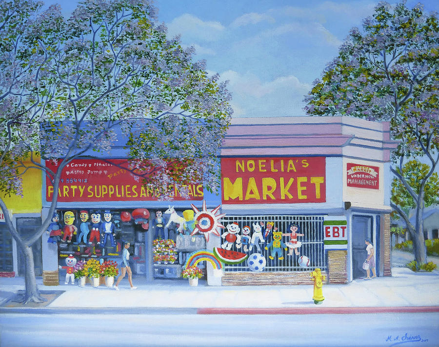 San Diego Painting - Noelias Market by Miguel A Chavez