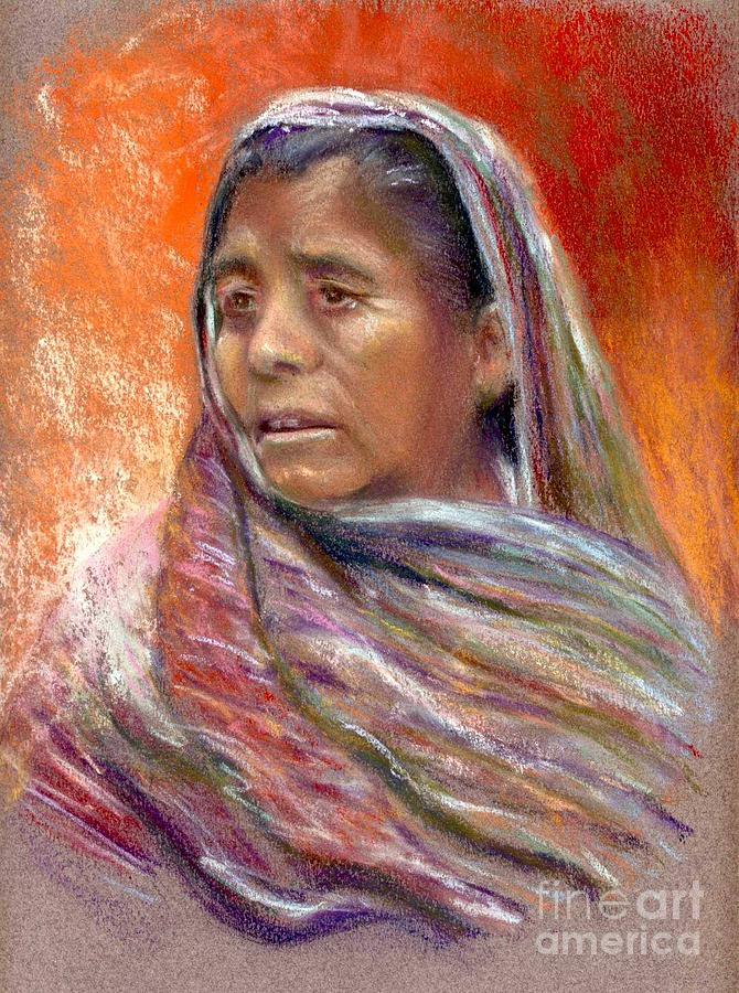 Portrait Painting - Nogales Beggar Woman by Shirley Leswick