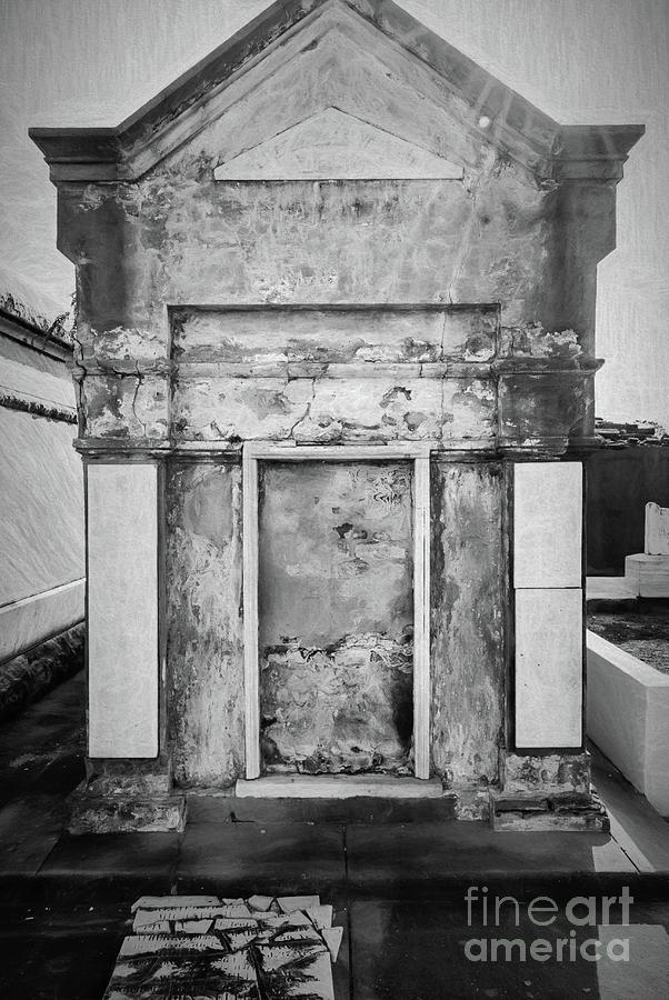 Nola Tomb 2 - Charcoal Photograph