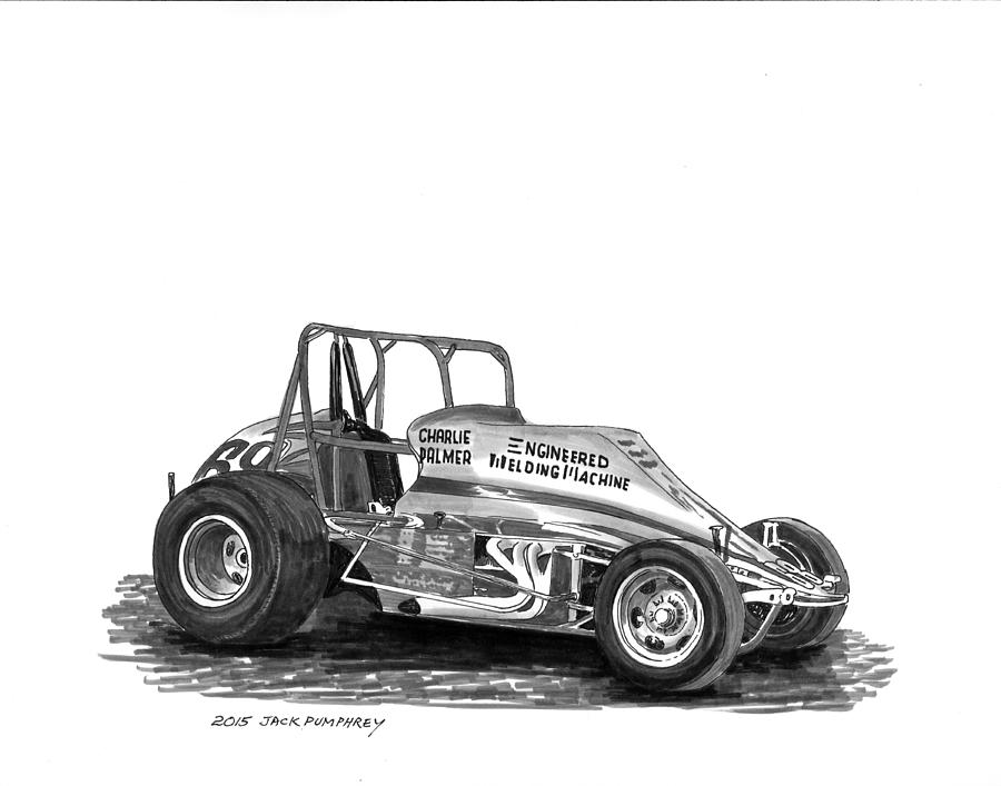 Race Track Wall Art >> Non Wing Sprint Race Car Painting by Jack Pumphrey