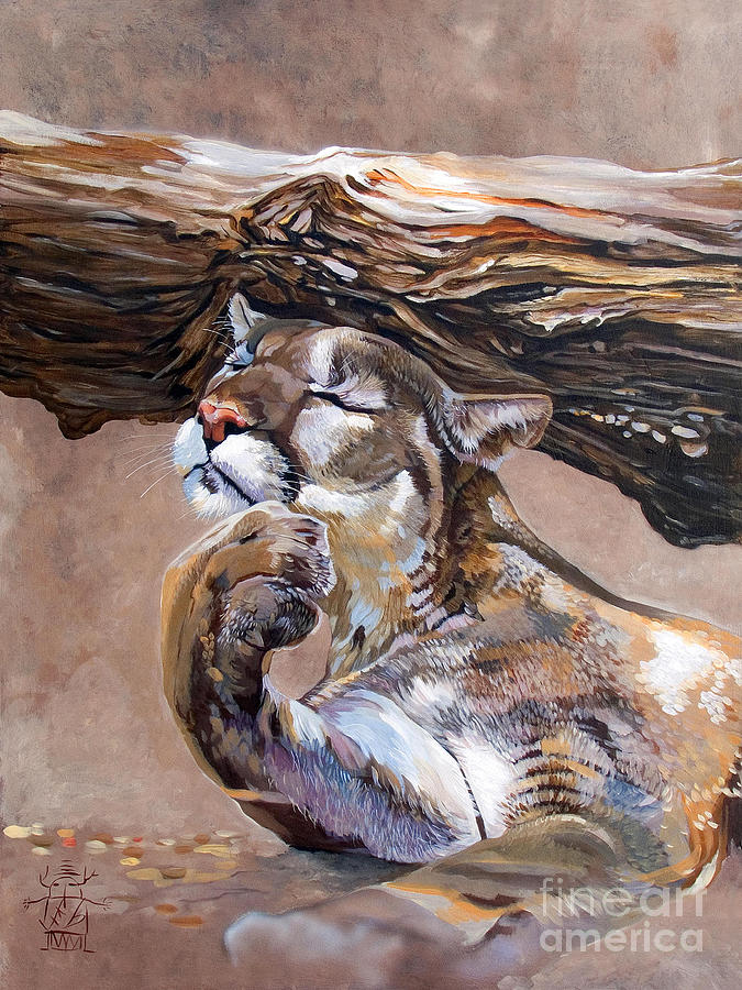 Catamount Painting - Nonchalant by J W Baker