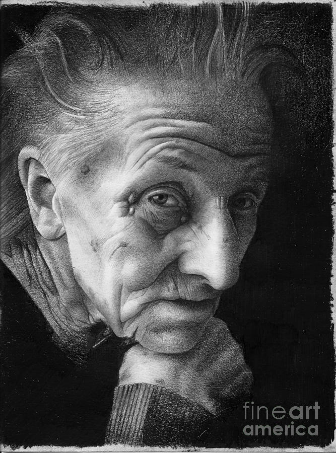 Graphite Drawing - Nonna by David Vanderpool