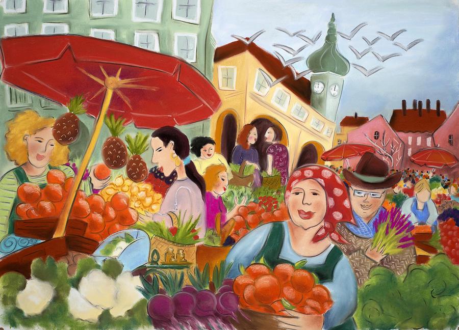 Pigeons Painting - Noon at the Market by Tatjana Krizmanic