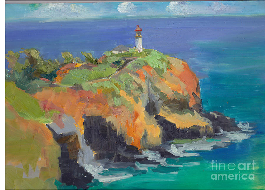 Noon Lighthouse Painting by Cynthia Riedel
