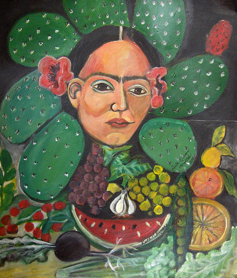 Food Painting - Nopales for Lunch by Ruth Olivar Millan