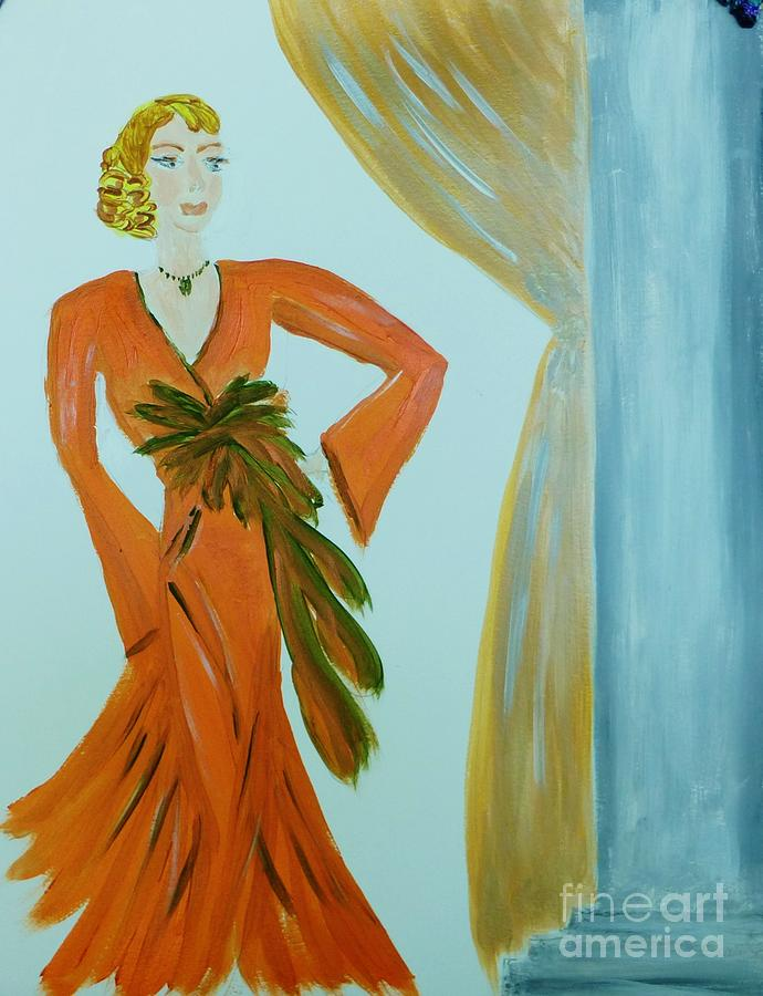 Art Deco Painting - Nora-an Art Deco Lady by Marie Bulger