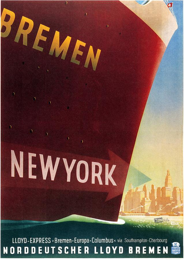Norddeutscher Lloyd Bremen - New York - Retro Travel Poster - Vintage Poster Mixed Media