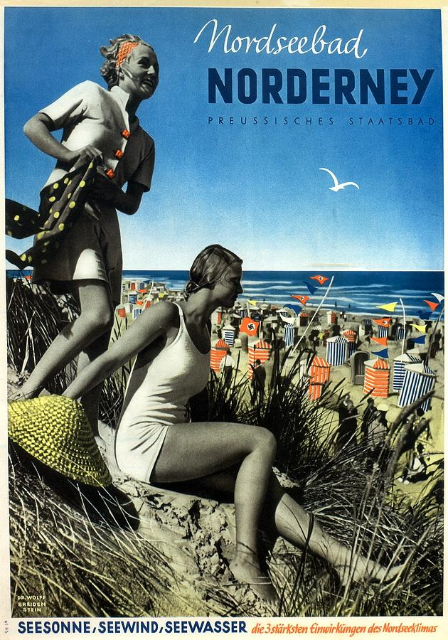 Norderney Vintage Collage Poster - Girls On A Beach Mixed Media