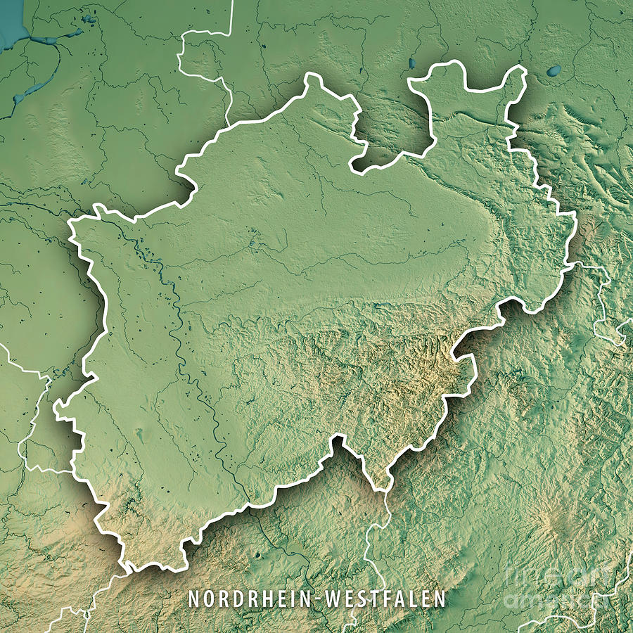 Nordrhein-westfalen Bundesland Germany 3d Render Topographic ...