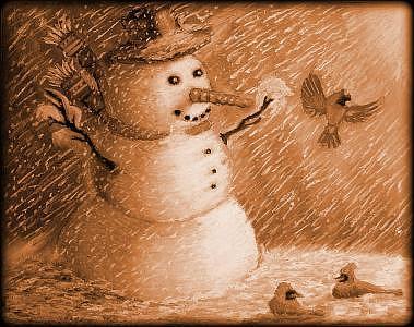 Snowman Painting - Noreastern Splendor- Sepia Tone by Ronald Johnson