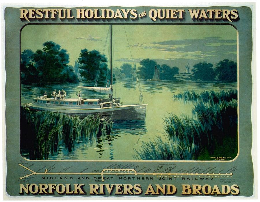 Norfolk Rivers And Broads - Vintage Illustrated Poster Of A Boat In The Waters Painting