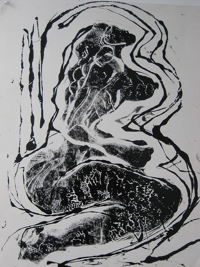 Monoprint Drawing - Norma Jean by Dalushaka Mugwana