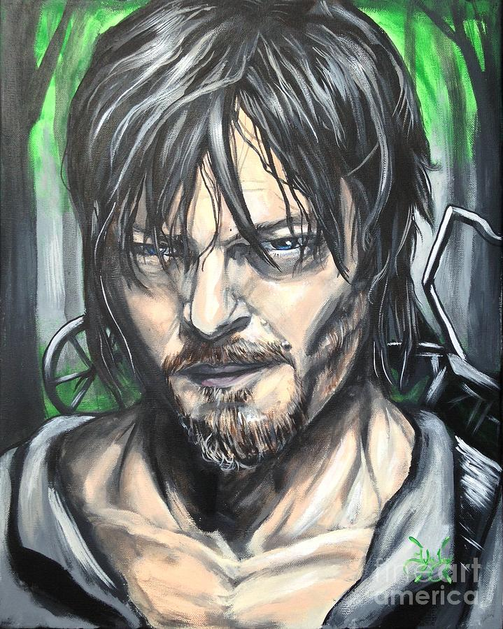Walking Dead Painting - Norman Reedus as Daryl Dixin by Tyler Haddox
