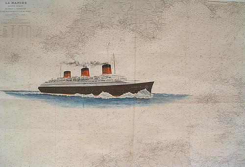 Boat Painting - Normandie Liner by Patrice Large