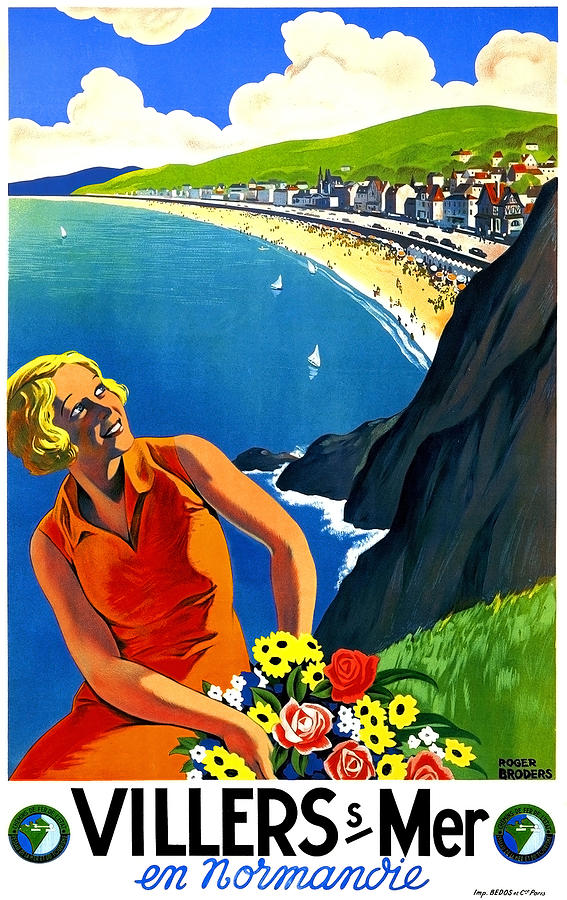 Normandy Painting - Normandy, French Riviera, Blond Woman With Flowers by Long Shot
