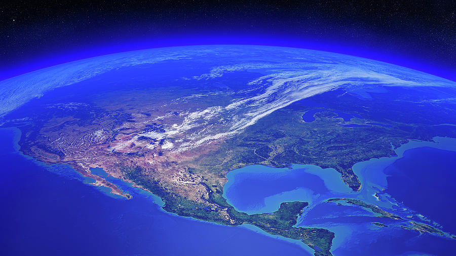 Earth Photograph - North America seen from space by Johan Swanepoel