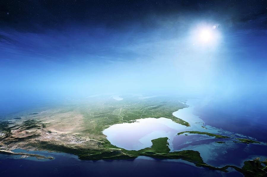 North America Sunrise Aerial View Photograph