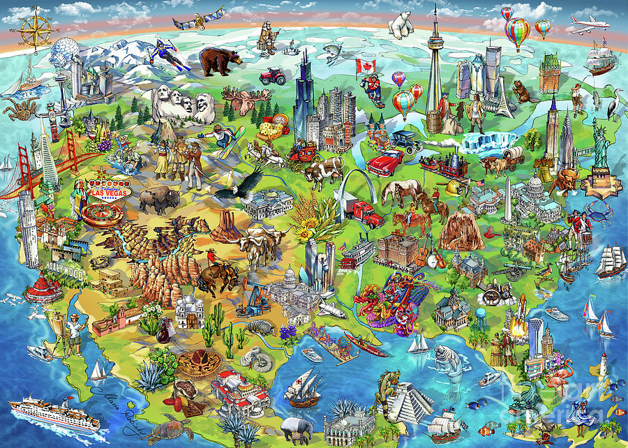 North America Wonders Map Illustration Painting by Maria Rabinky
