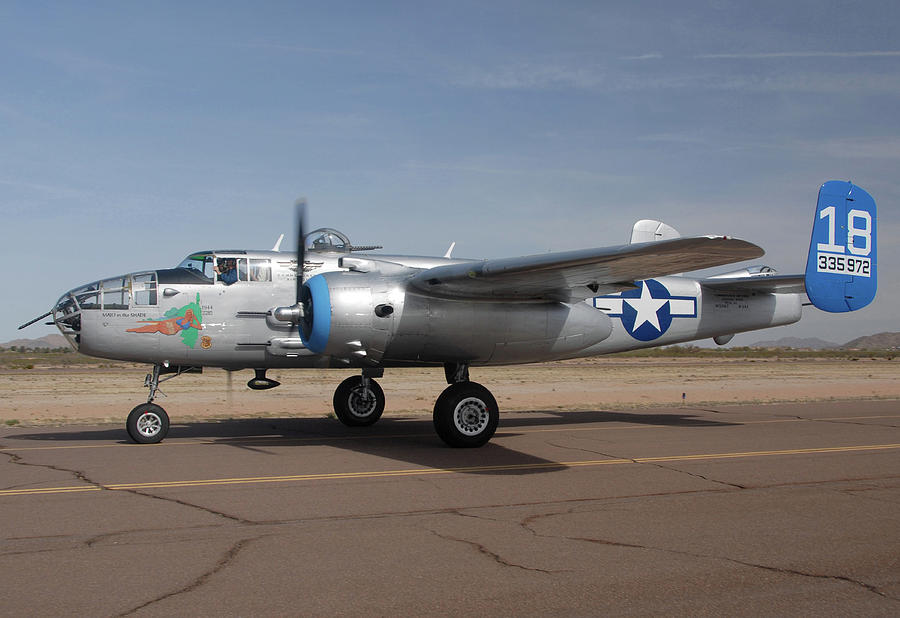 Airplane Photograph - North American B-25j Mitchell Maid In The Shade N125az Casa Grande Airport Arizona March 5 2011 by Brian Lockett
