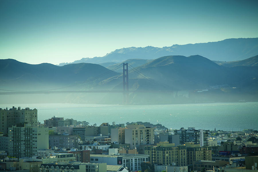 Horizontal Photograph - North Beach And Golden Gate by Hal Bergman Photography