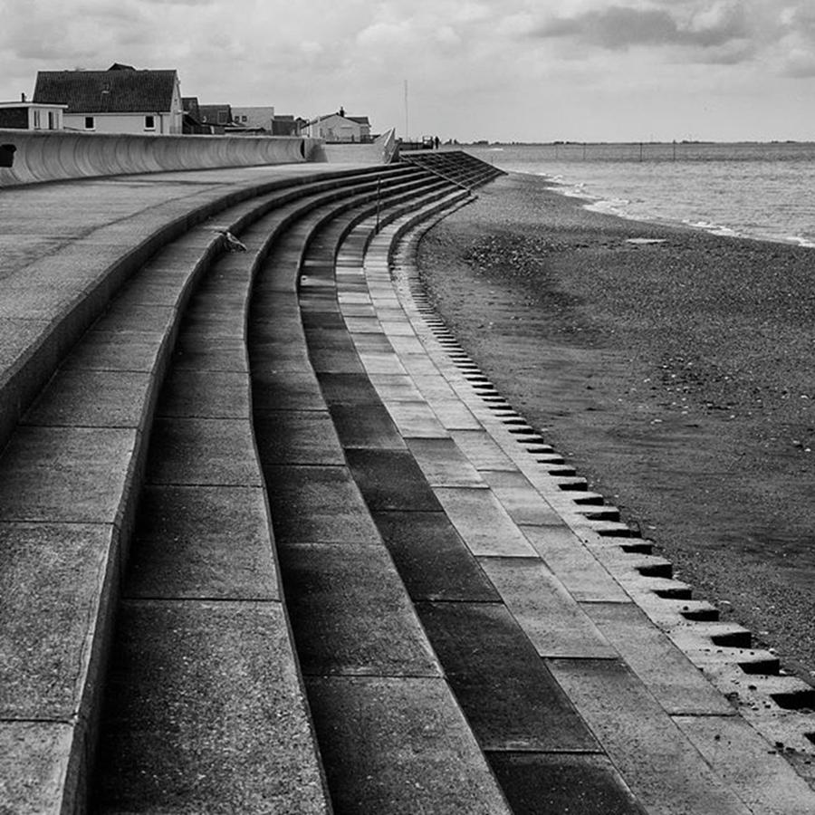 Blackandwhite Photograph - North Beach, Heacham, Norfolk, England by John Edwards