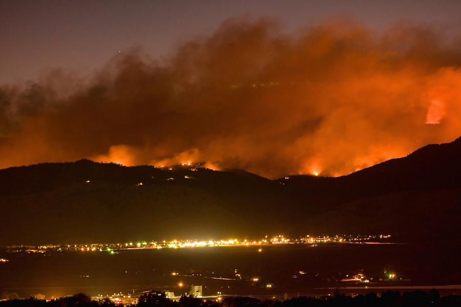 Boulder County Photograph - North Boulder Colorado Fire Above In The Hills by James BO  Insogna